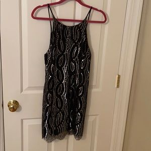 Black and silver lace dress